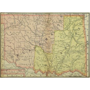 Original Antique Map Oklahoma and Indian Territories 9242m