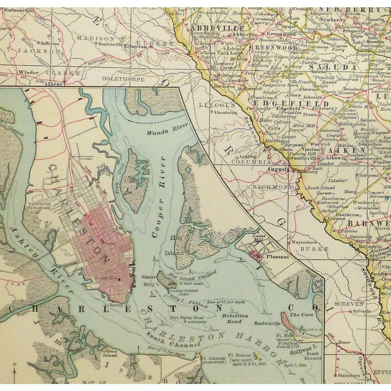 Original Antique Map South Carolina - detail - 9244m