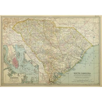 Original Antique Map South Carolina 9244m