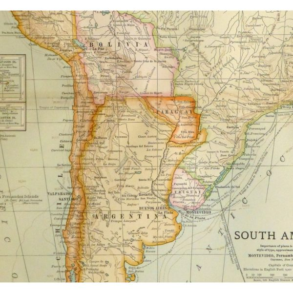 Antique Map South America 1902 - detail - 9245m