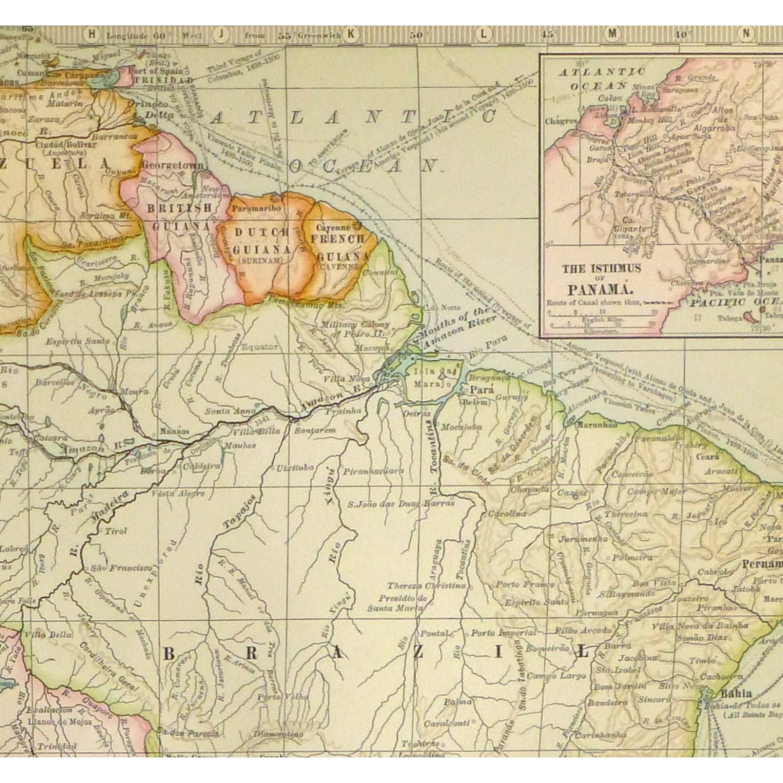 Antique Map South America 1902 - detail - 9245m