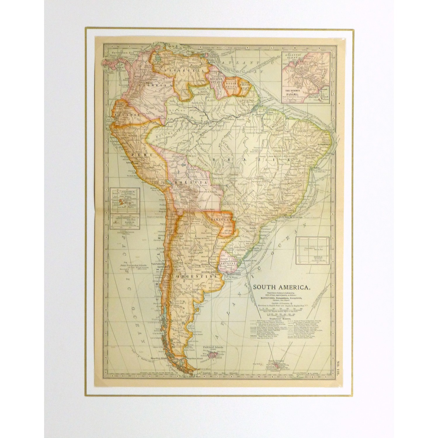 Antique Map South America 1902 - matted - 9245m