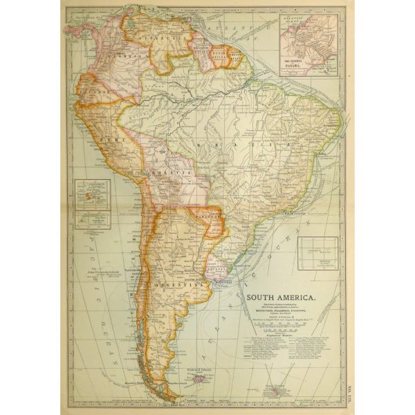 Antique Map South America 1902 9245m