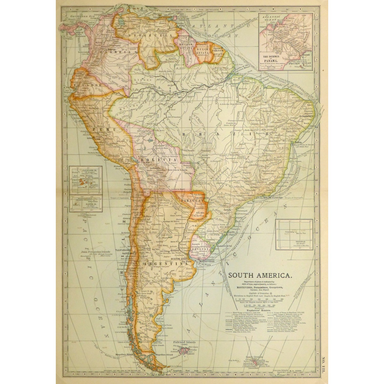 Antique Map South America 1902 9245m