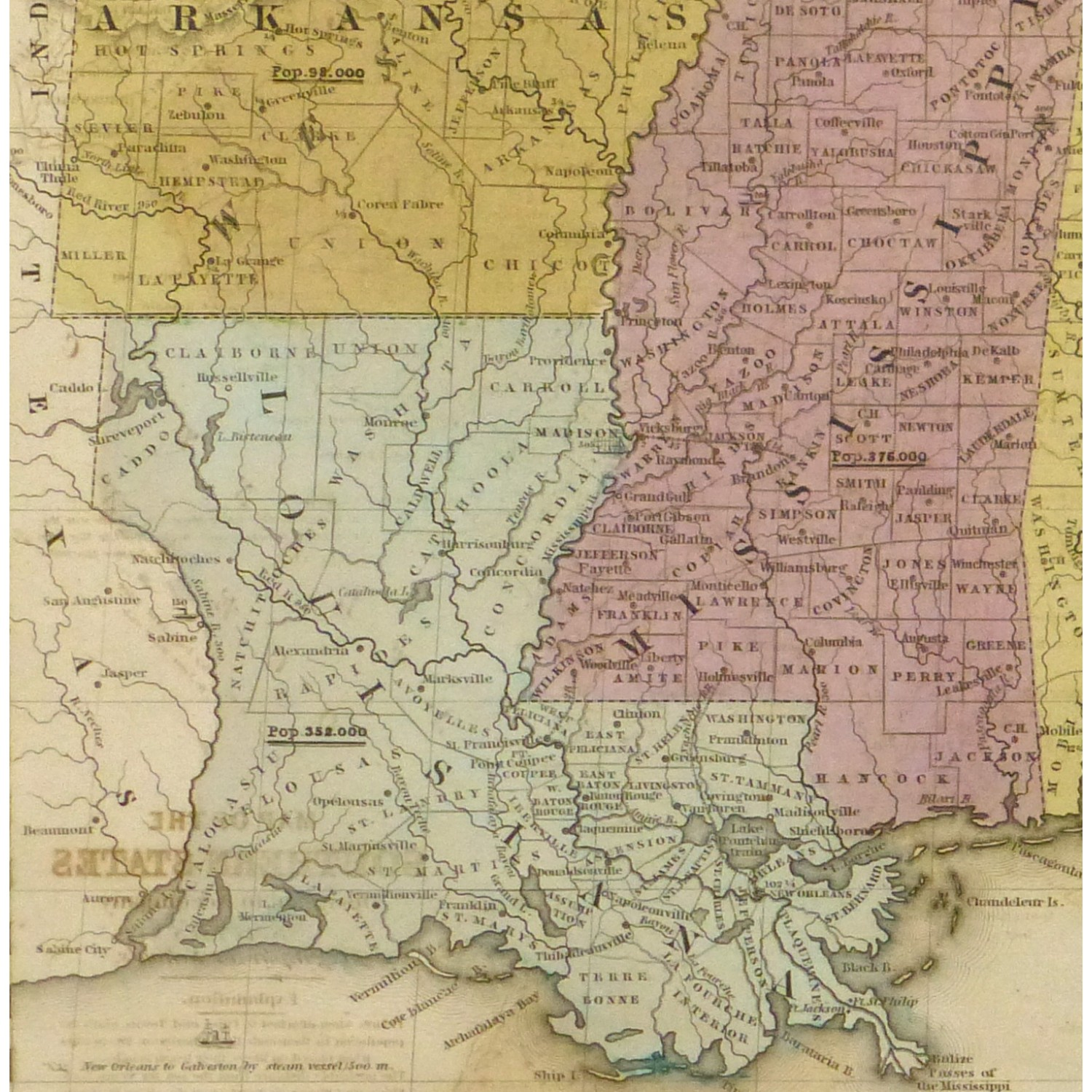 Map Southern United States Original Art Antique Maps - Map of the southern us
