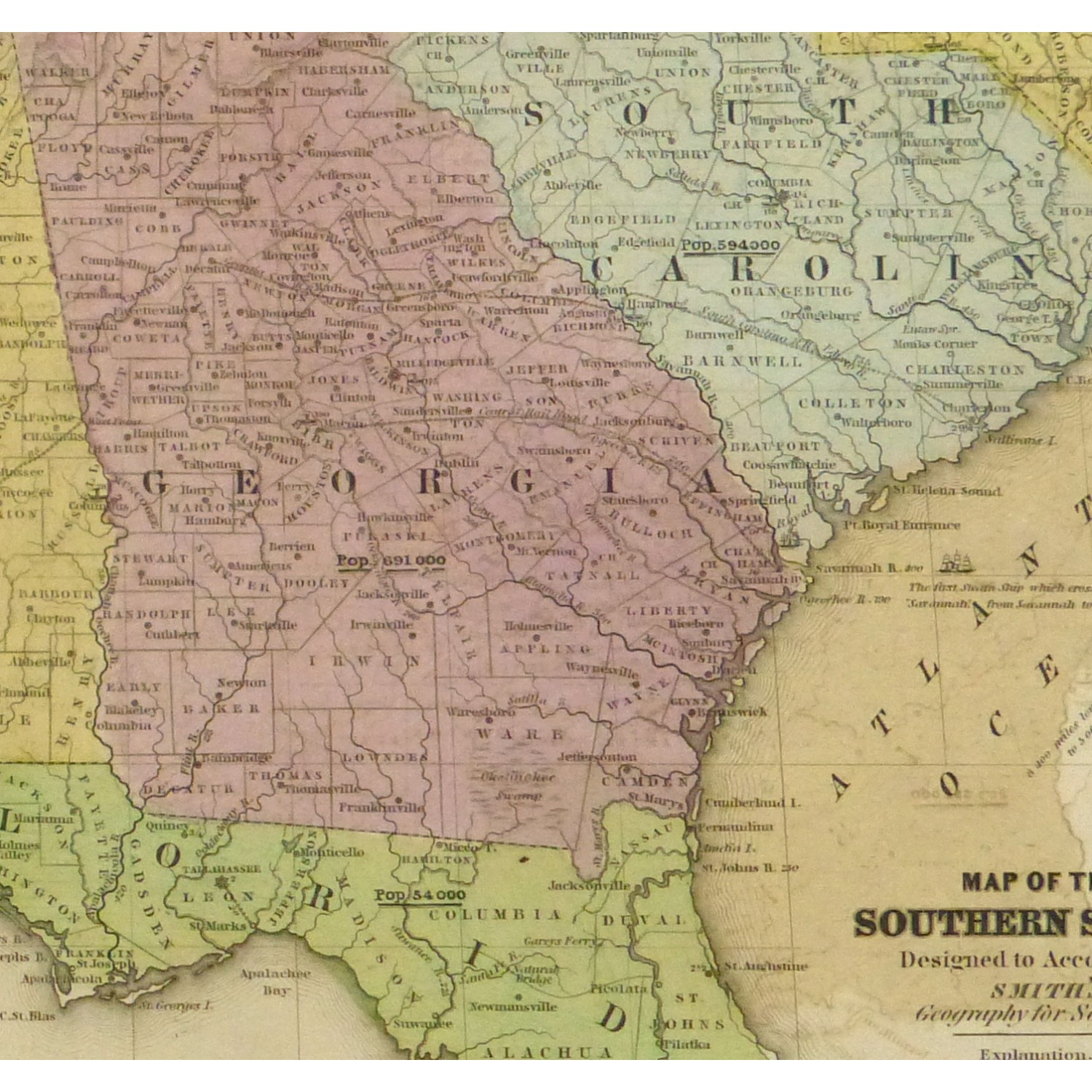 Map Southern United States Original Art Antique Maps - Us brown map with states