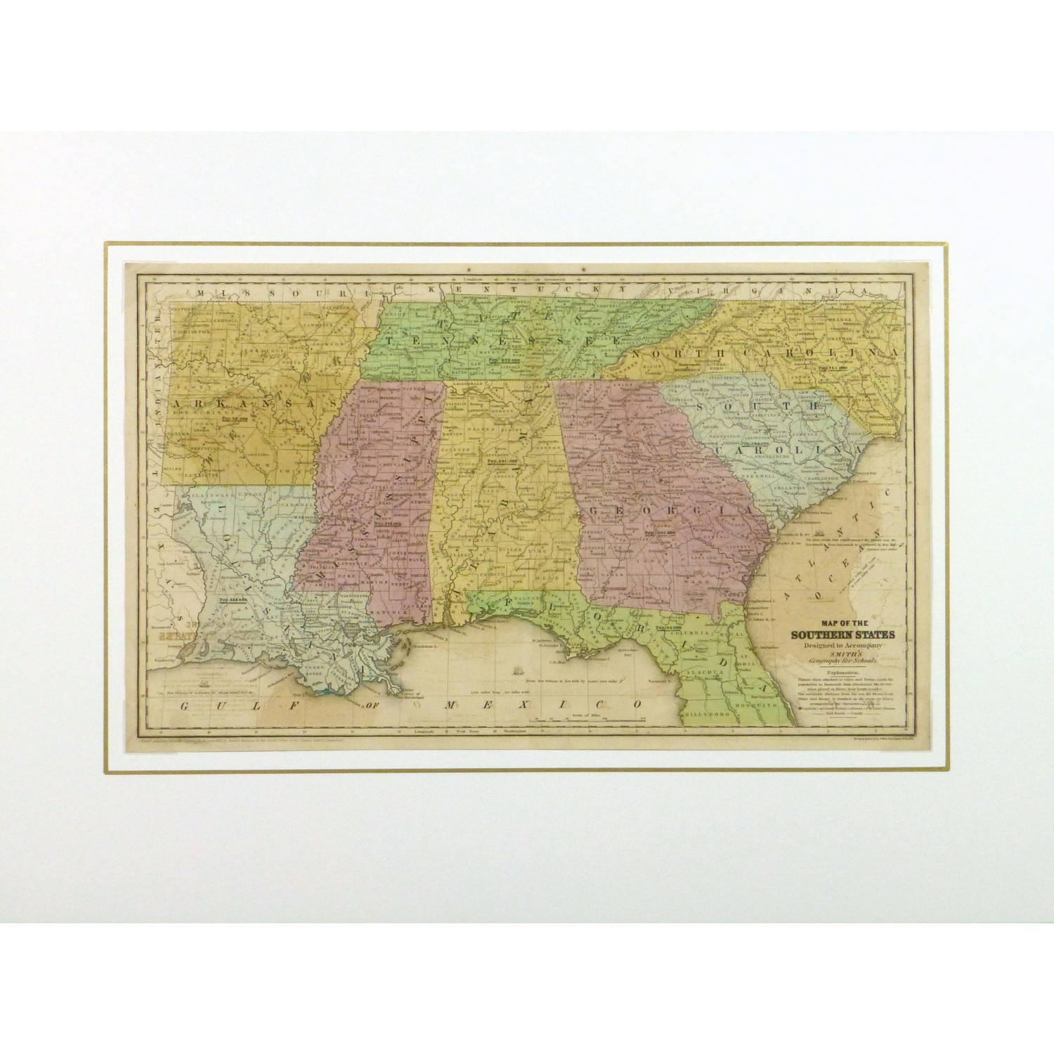 Map Southern United States Original Art Antique Maps - Map of southern us