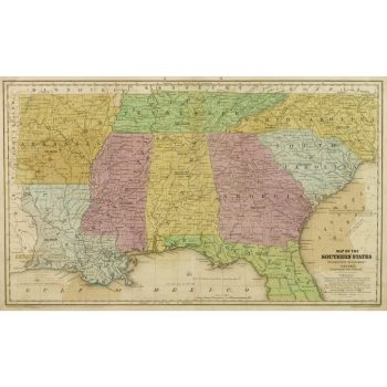 Antique Map Southern US States 9250m
