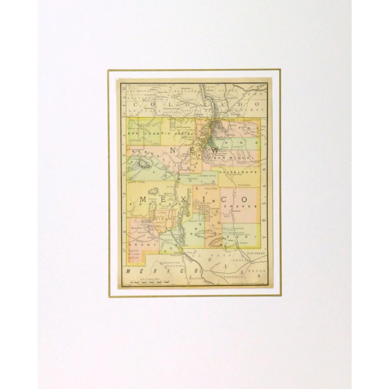Original Antique Map New Mexico - matted - 9252m