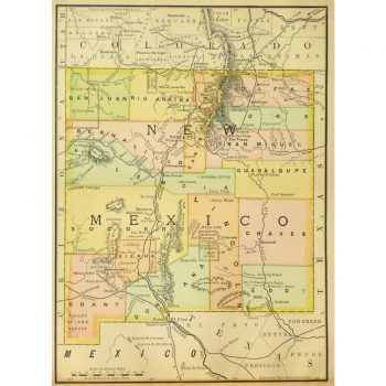 Original Antique Map New Mexico 9252m