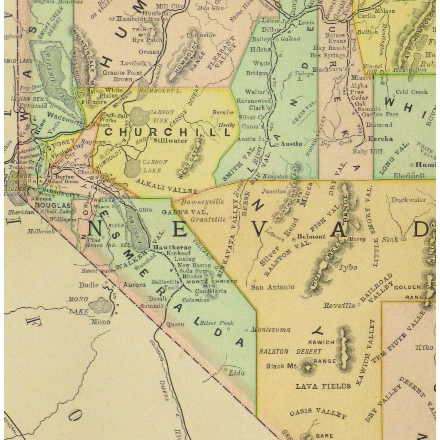 Map - Nevada, 1891 - Original Art, Antique Maps & Prints