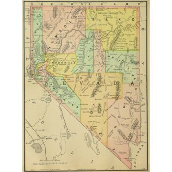 Original Antique Map of Nevada 9253m
