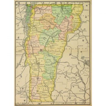 Antique Map Vermont 1891 9254m