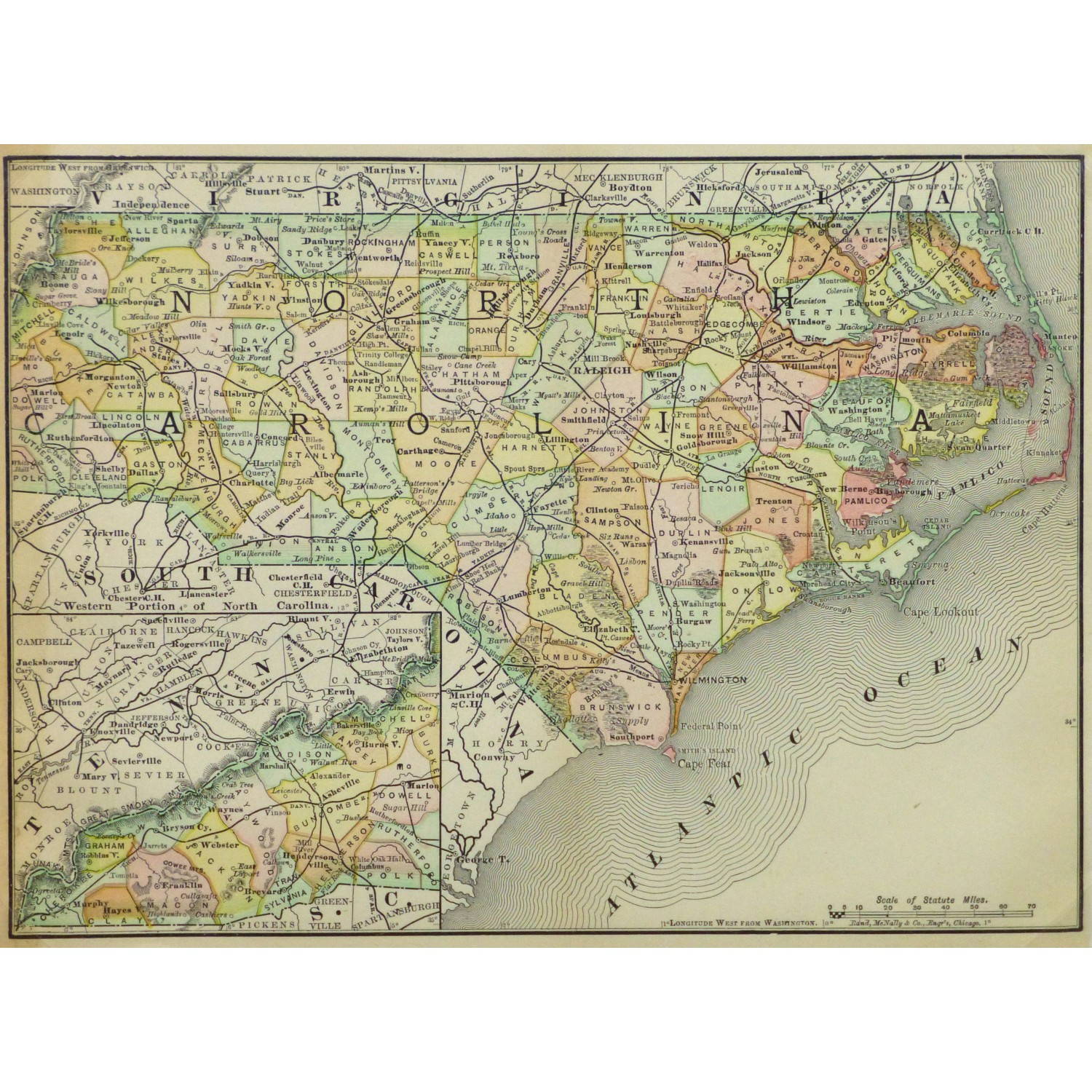 Original Antique Map North Carolina 9255m