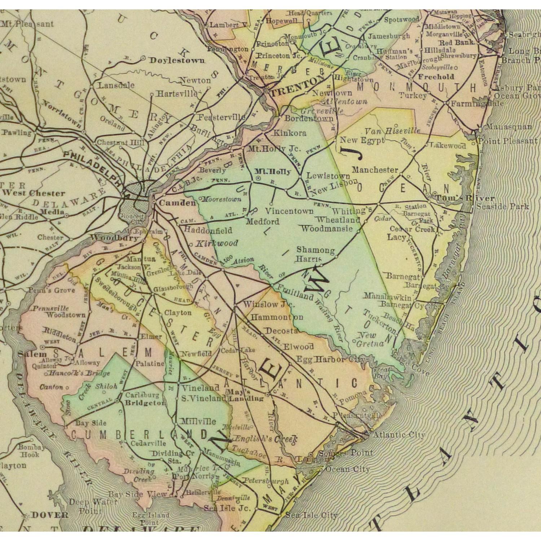Original Antique Map New Jersey , 1891 - detail - 9257m