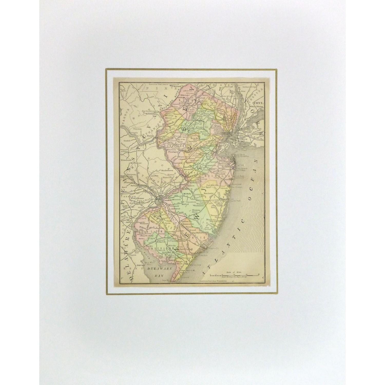 Original Antique Map New Jersey , 1891 - matted - 9257m