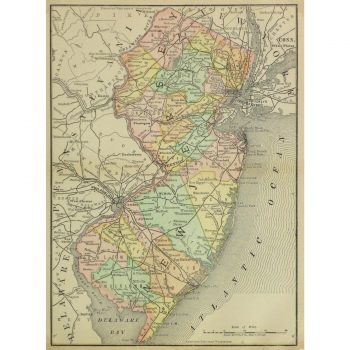 Original Antique Map New Jersey , 1891 9257m