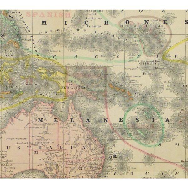Original Antique Map Australia Micronesia Polynesia - detail - 9258m
