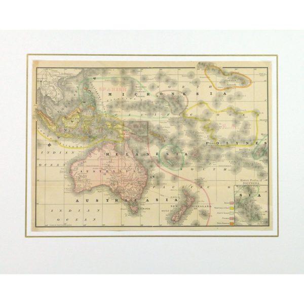 Original Antique Map Australia Micronesia Polynesia - matted - 9258m
