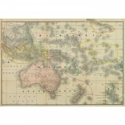 Original Antique Map Australia Micronesia Polynesia 9258m