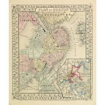 Original Antique Map Boston by Mitchell 9259m