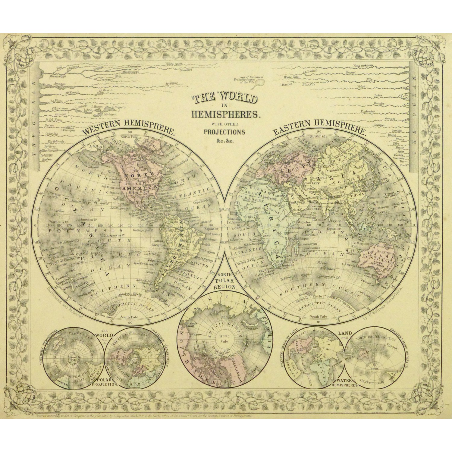 Antique Map Eastern and Western Hemispheres by Mitchell 9260m