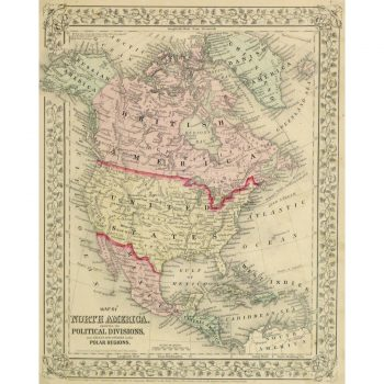 Original Antique Map North America by Mitchell 9261m