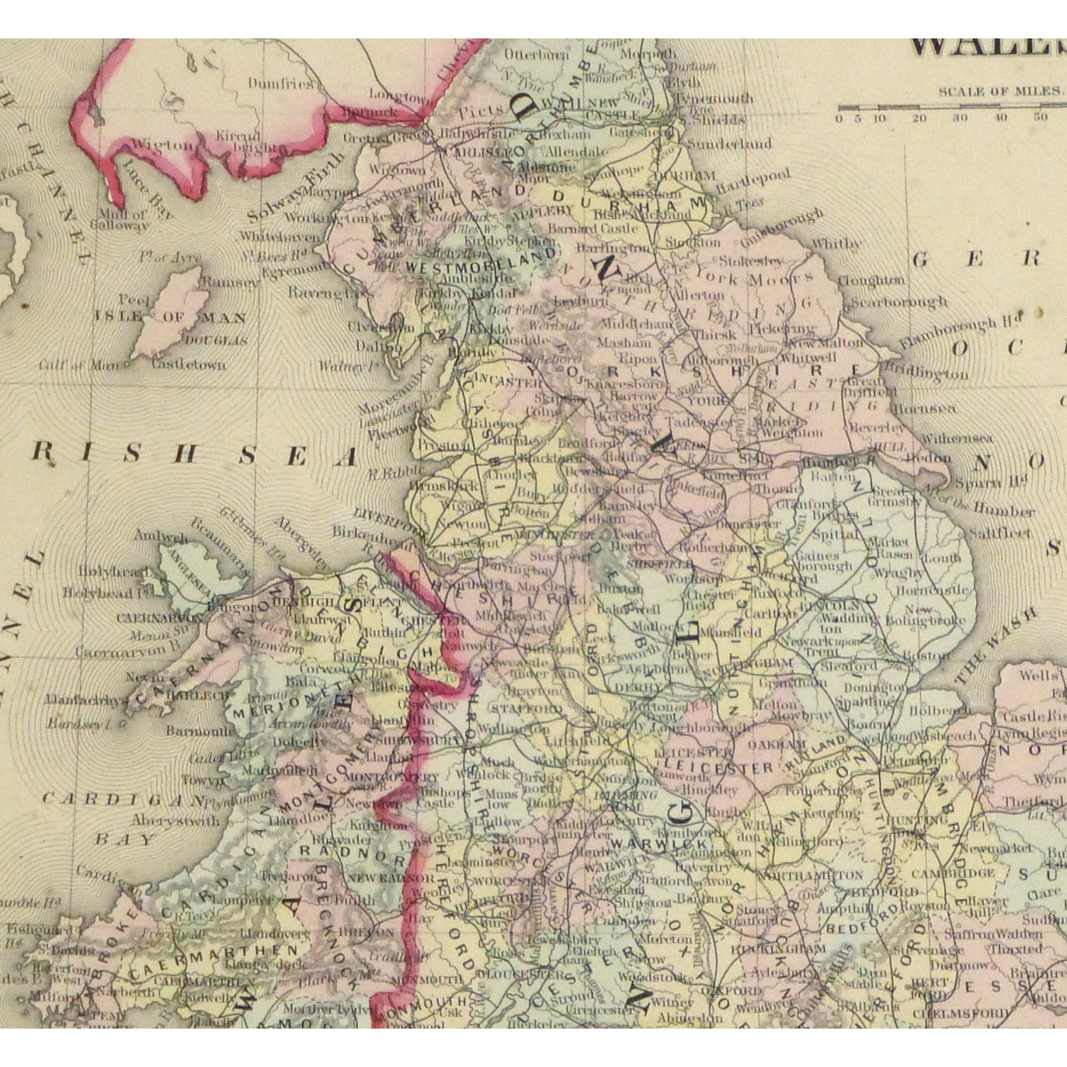 Original Antique Map England and Wales - detail - 9262m