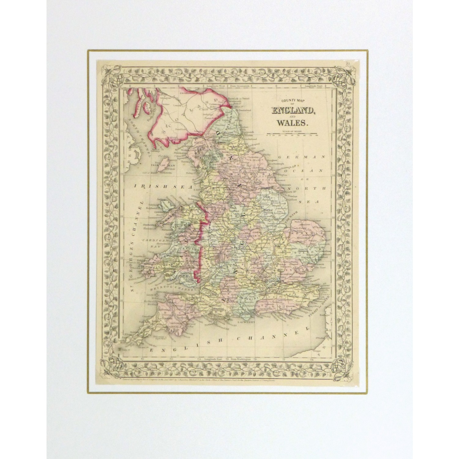 Map Of England And Wales.Map England Wales 1867 Original Art Antique Maps Prints