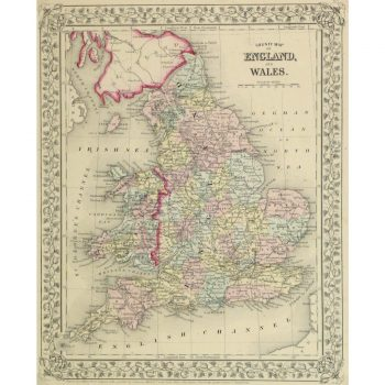 Original Antique Map England and Wales 9262m