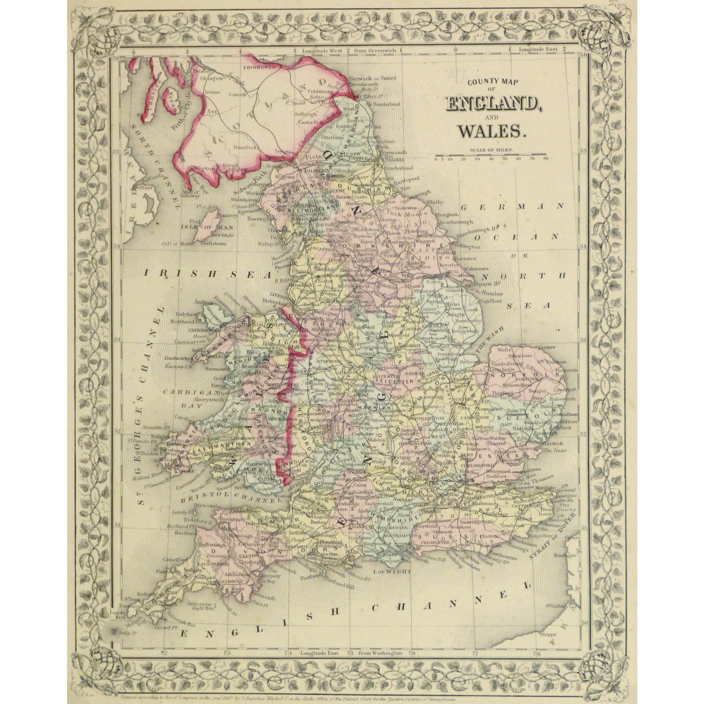 Original Antique Map England and Wales 9262m