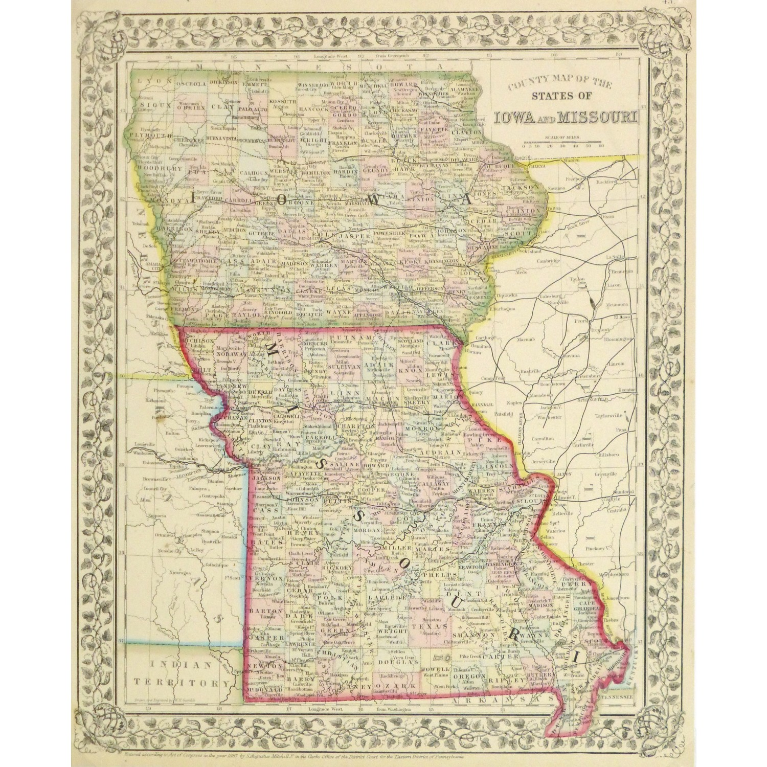 Original Antique Map Iowa and Missouri 9264m