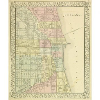 Original Antique Map Chicago 9265m