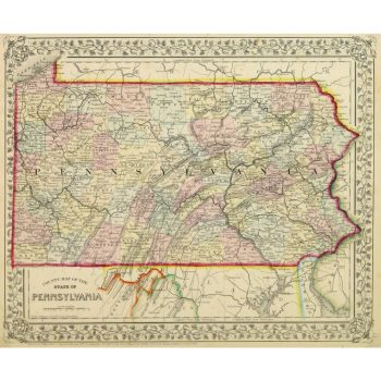 Original Antique Map Pennsylvania by Mitchell 9266m