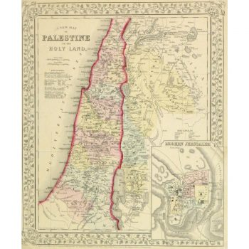 Original Antique Map Palestine and the Holy Lands by Mitchell 9267m