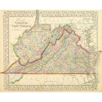 Antique Map of Virginia and West Virginia by Mitchell 1867 9268m