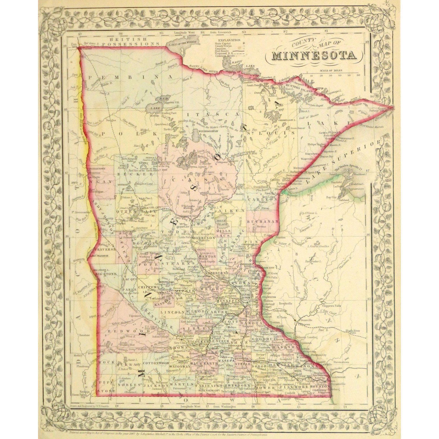 Original Antique Map of Minnesota by Mitchell 9270m