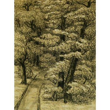 Ink Drawing The Park Path by Karl Heyn 9294
