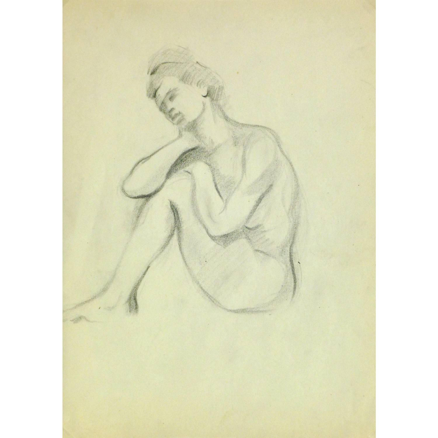 Vintage Pencil Drawing of Female Nude by Jean Ernst 9297