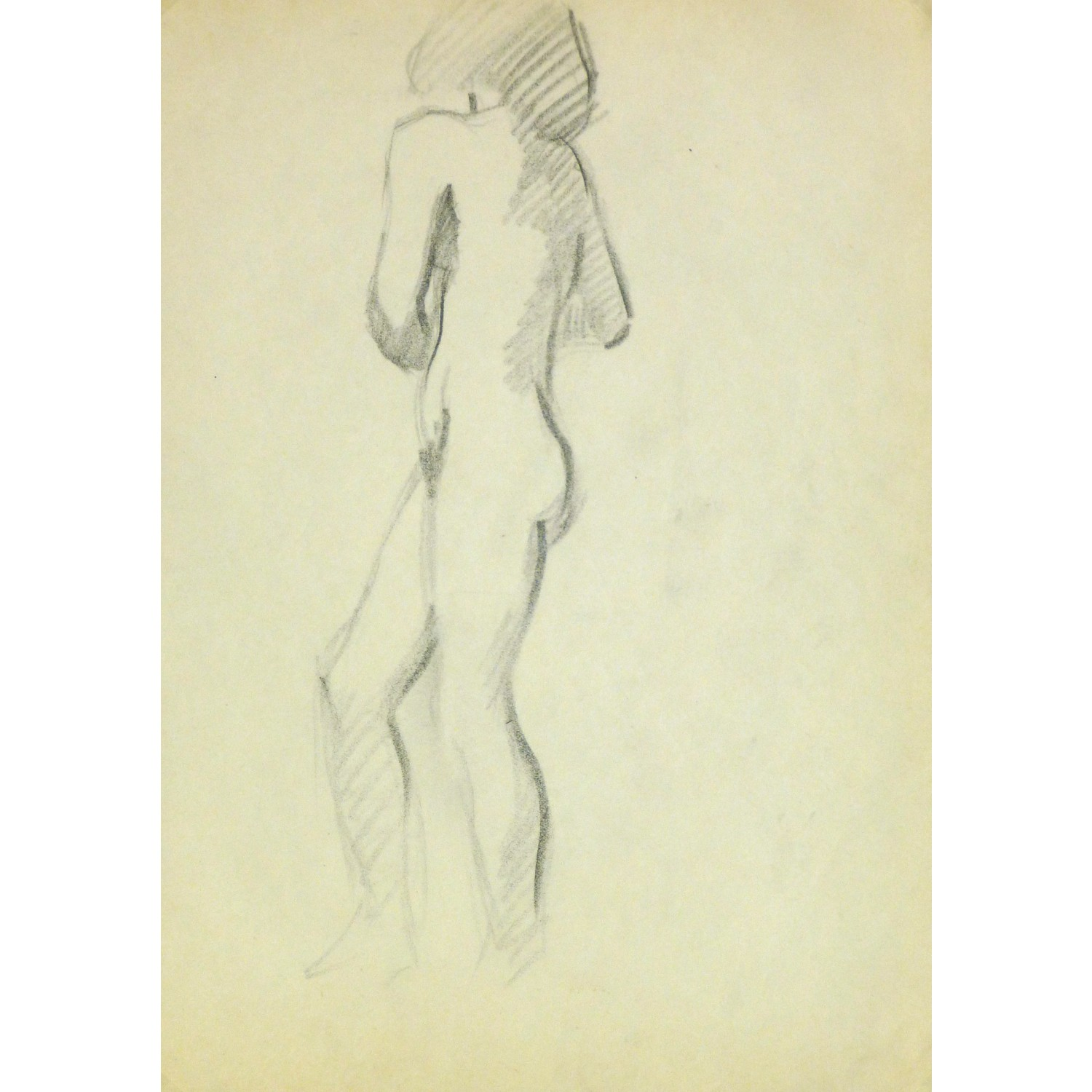 Vintage Pencil Drawing of Female Nude by Jean Ernst 9298