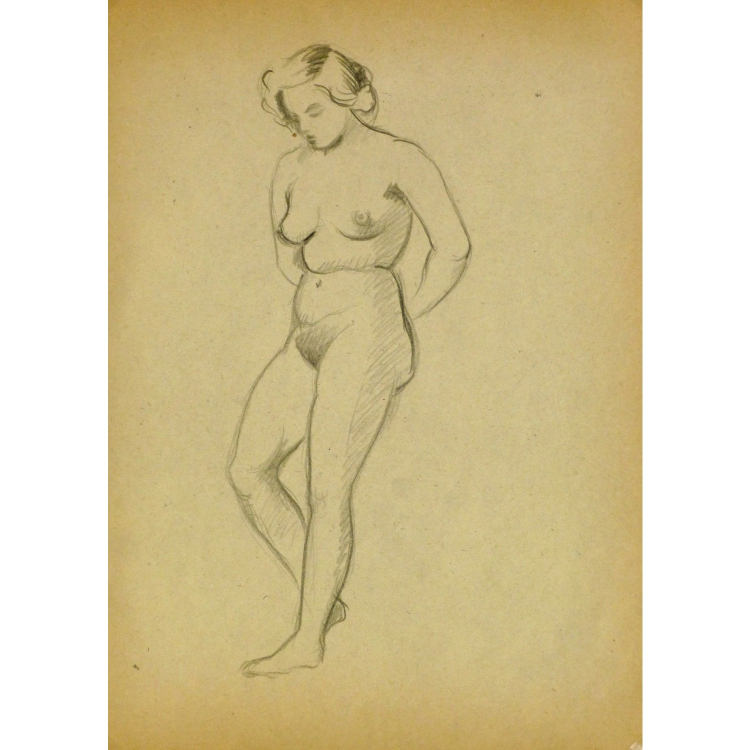 Vintage Pencil Drawing by Jean Ernst Nude Female III 9299