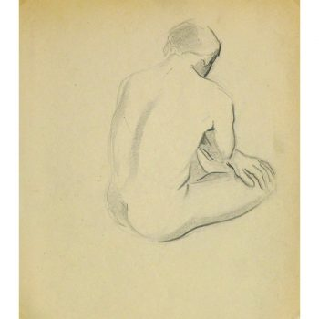 Vintage Pencil Drawing by Jean Ernst Nude Male II - 9302