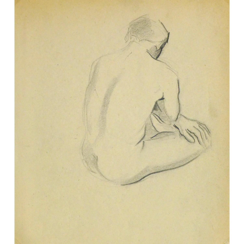 Vintage Pencil Drawing by Jean Ernst Nude Male II - 9302