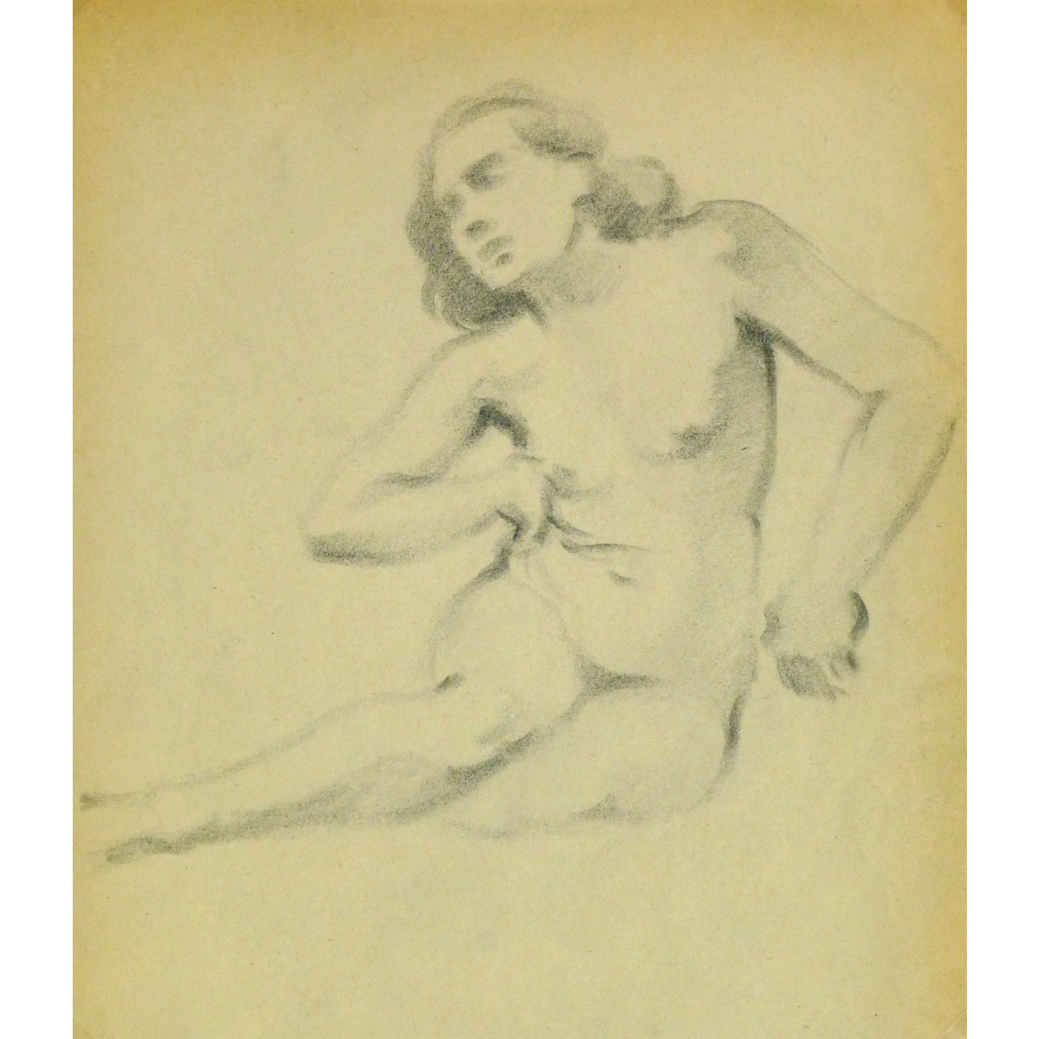 Vintage Pencil Drawing of Female Nude by Jean Ernst 9304