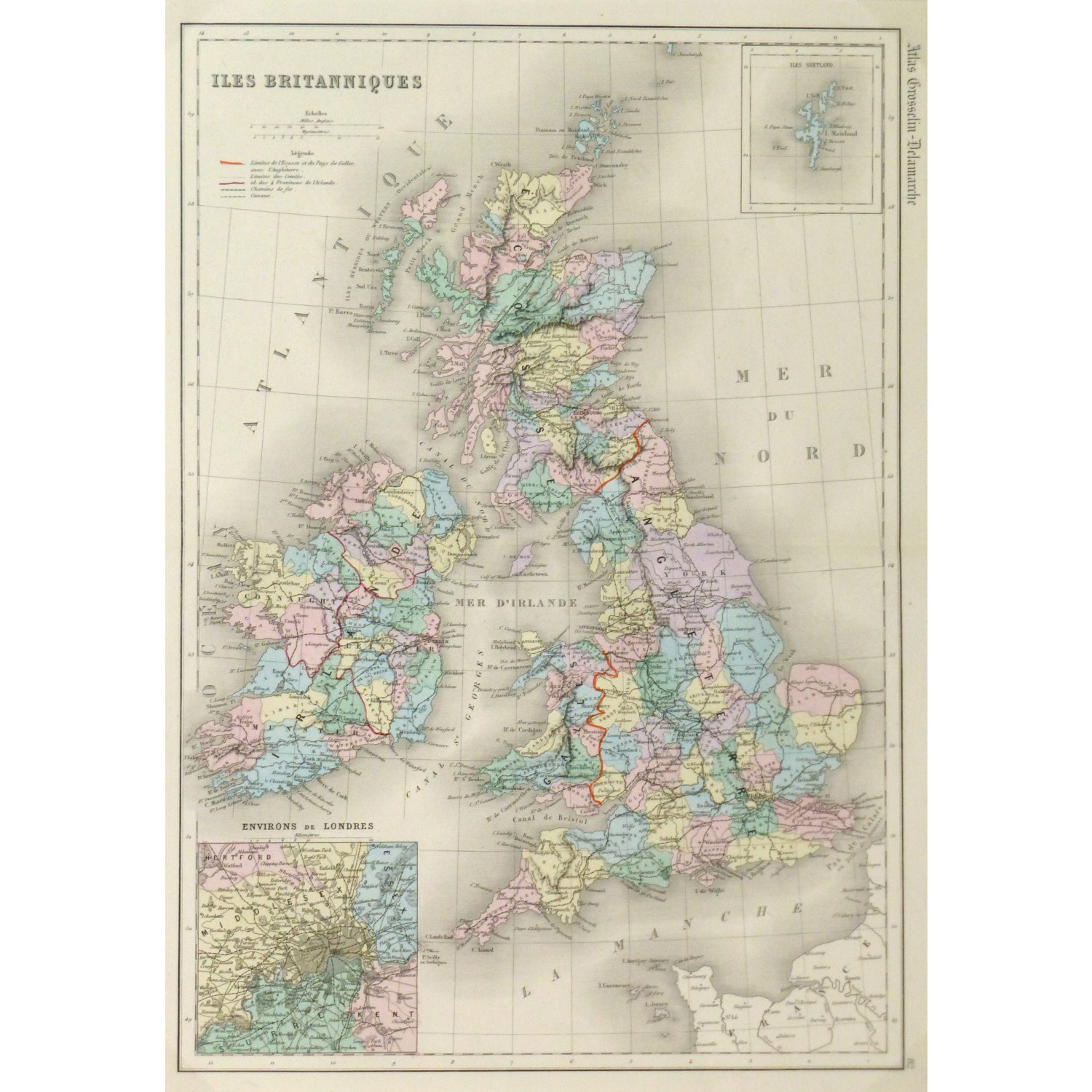 Original Antique Map Great Britain 9426m