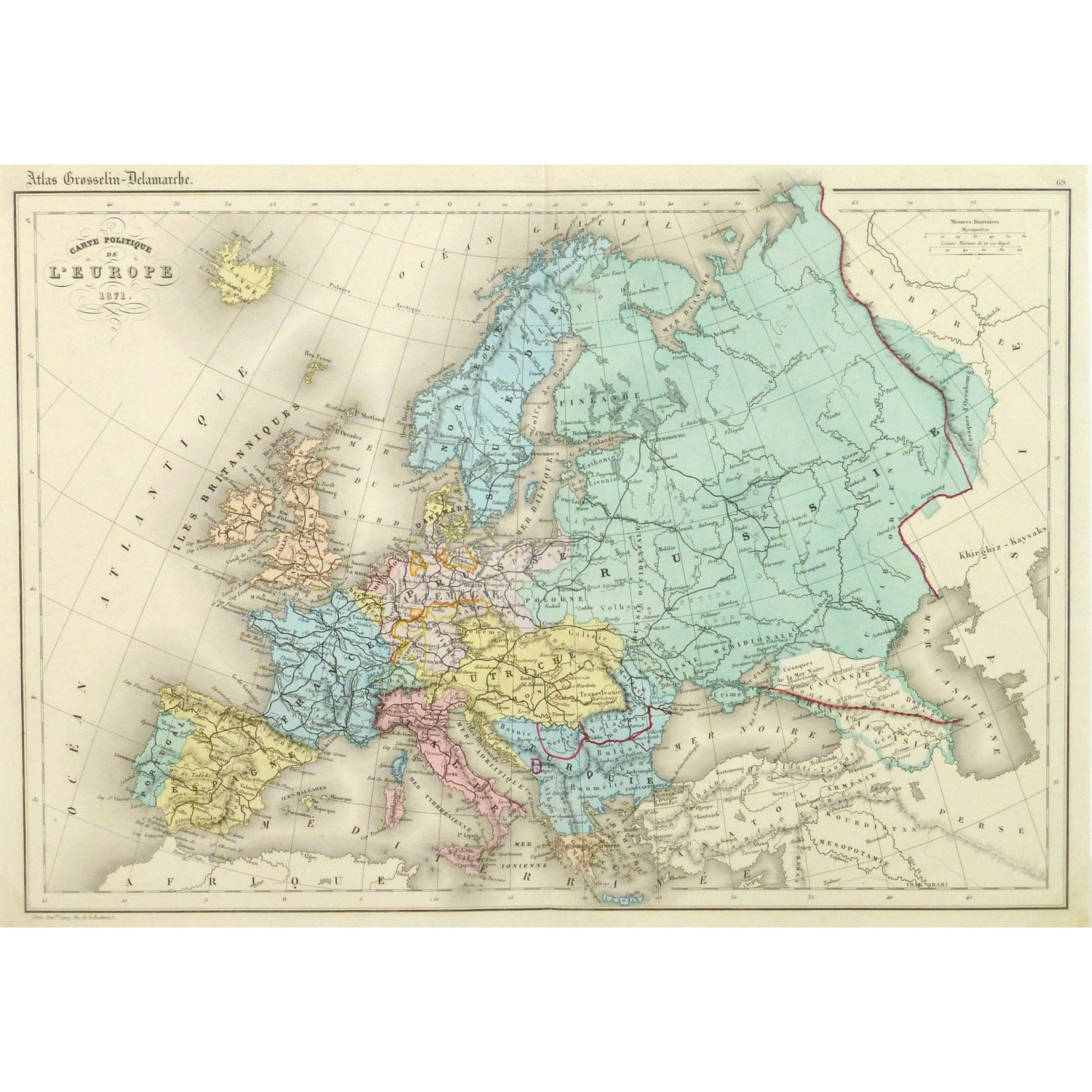 Original Antique Map Europe 1871 9428m