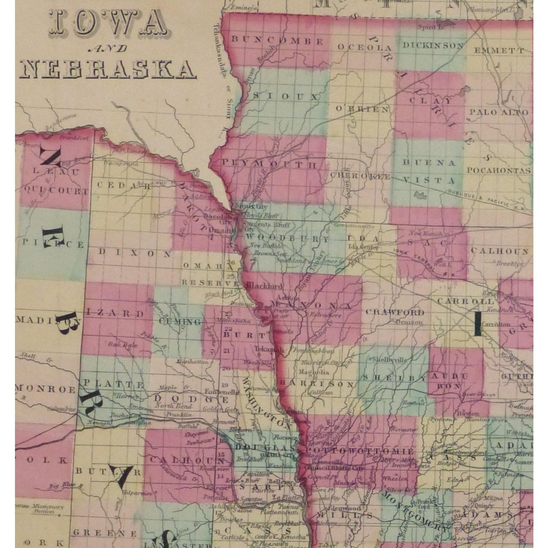 Original Antique Map Iowa and Nebraska - detail - 9429m
