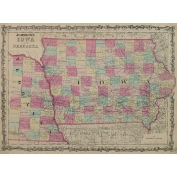 Original Antique Map Iowa and Nebraska 9429m