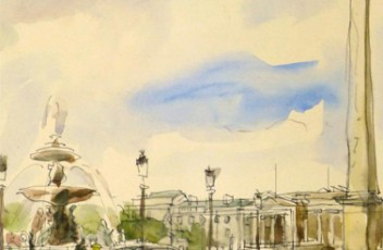 Watercolor of Place de la Concorde, Paris