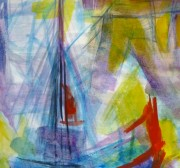 Watercolor Seascape - Abstract Ship - Detail 2-10104M